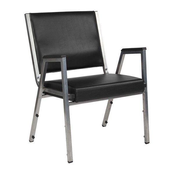 Offex 1500 lb. Rated Black Antimicrobial Vinyl Bariatric Stackable Arm Chair with Silver Vein Frame