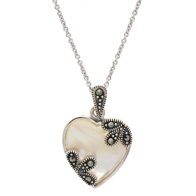 Glitzy Rocks Sterling Silver Mother of Pearl Heart Pendant