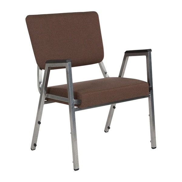 Offex 1500 lb. Rated Brown Antimicrobial Fabric Bariatric Stackable Arm Chair with 3/4 Panel Back and Silver Vein Frame