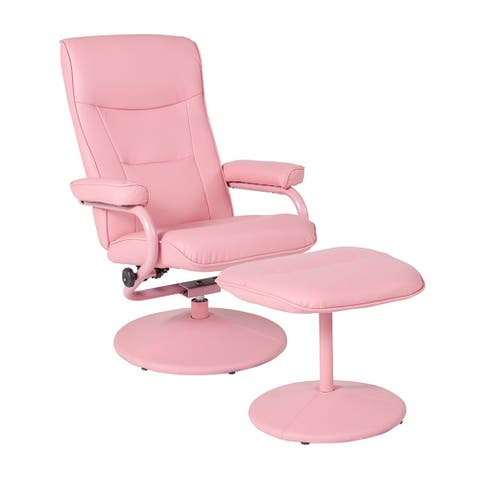 Offex Chelsea Contemporary Swivel Recliner and Ottoman in Pink Vinyl