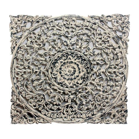 Gray 36-inch Carved Out Wood Panel