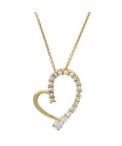 Icz Stonez 18k Gold overlay Sterling Silver CZ Heart Pendant