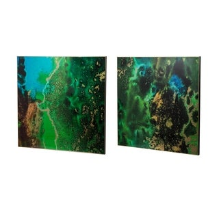 Set of 2 Organic Elements Abstract Green Wall Art