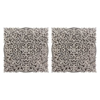 White Carved Out Wood Panel (Set of 2)
