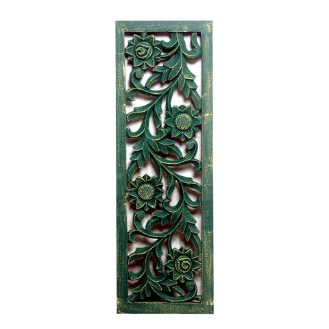 Distressed Forest Green Carved Out Wood Panel