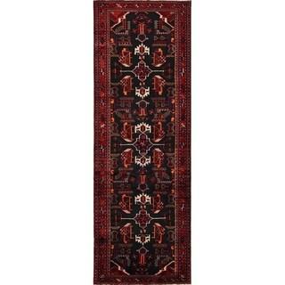 "Handmade Wool Geometric Hamedan Persian Rug - 10'5"" x 3'6"" runner"