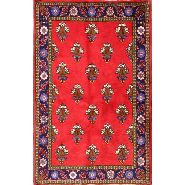 "Geometric Traditional Handmade Abadeh Persian Area Rug Wool - 5'2"" x 3'3"""