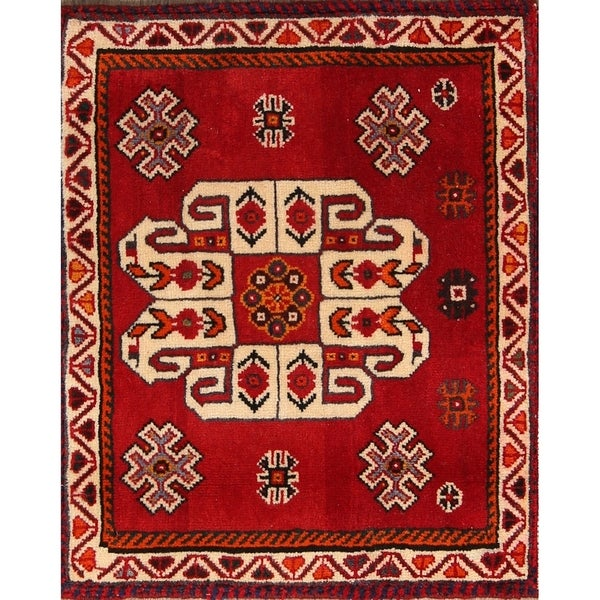 """Traditional Hand Made Shiraz Persian Tribal Woolen Area Rug - 1'8"""" x 2'0"""" square"""
