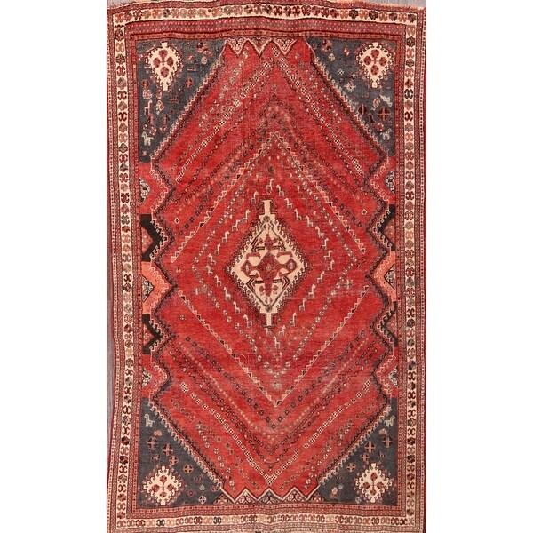 "Traditional Antique Kashkoli Shiraz Hand Made Persian Area Rug - 8'4"" x 4'10"""