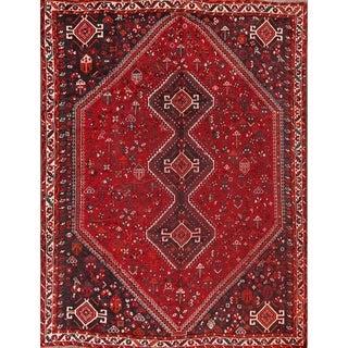 "Geometric Tribal Shiraz Handmade Wool Persian Antique Area Rug - 9'4"" x 6'9"""