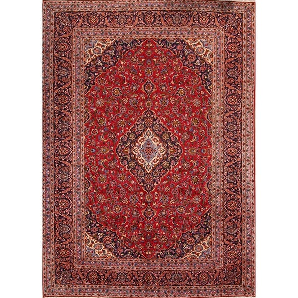 "Kashan Wool Handmade Persian Medallion Area Rug - 13'5"" x 9'6"""