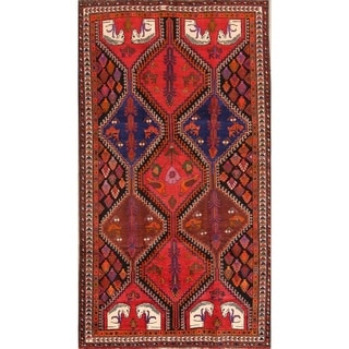 "Shiraz Hand Knotted Vintage Persian Traditional Area Rug Wool - 9'1"" x 4'11"""