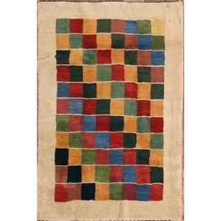 "Traditional Hand Made Wool Gabbeh Shiraz Persian Geometric Area Rug - 3'10"" x 2'8"""