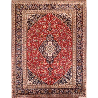 "Handmade Medallion Traditional Kashan Persian Area Rug - 12'6"" x 9'9"""