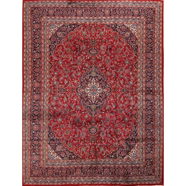 Traditional Hand Made Mashad Persian Medallion Wool Area Rug 12 X27 6