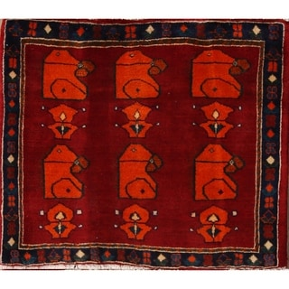 """Traditional Abadeh Hand Made Shiraz Persian Oriental Area Rug - 2'4"""" x 2'8"""" square"""