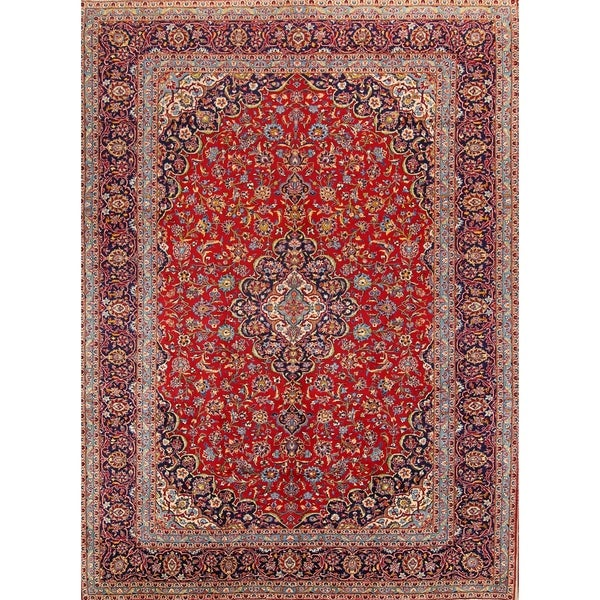 """Floral Hand Made Wool Kashan Traditional Persian Wool Area Rug - 13'3"""" x 9'9"""""""
