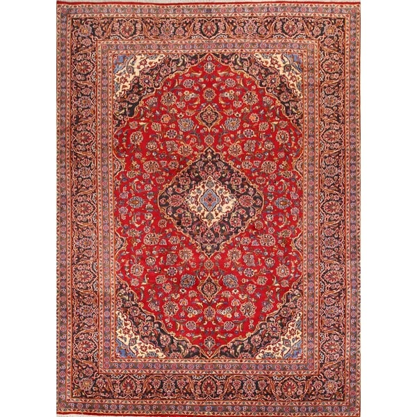 "Classical Hand Made Floral Red Mashad Persian Area Rug - 13'3"" x 9'8"""