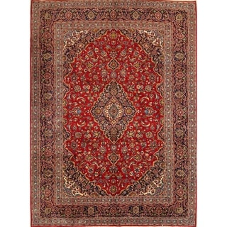 "Traditional Hadn Made Wool Kashan Persian Medallion Area Rug - 13'3"" x 9'9'"