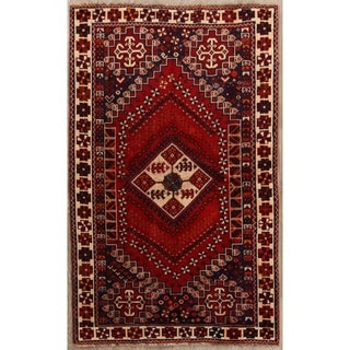 "Traditional Hand Knotted Oriental Shiraz Persian Area Rug Vintage - 6'8"" x 4'1"""