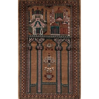"Balouch Wool Hand Knotted Persian Turkoman Prayer Area Rug Wool - 4'4"" x 2'8"""