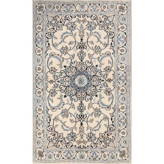 "Traditional Hand Made Wool Nain Persian Floral Area Rug - 6'4"" x 3'9"""