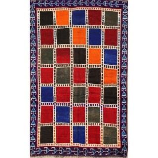 "Hand Made Wool Traditional Gabbeh Shiraz Persian Geometric Area Rug - 5'7"" x 3'5"""