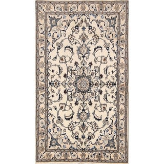 "Hand Knotted Wool Traditional Nain Isfahan Persian Area Rug Floral - 6'10"" x 3'10"""