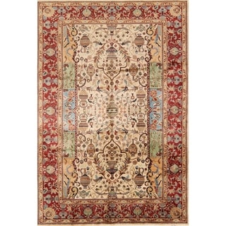 """Classical Kashmar Hand Knotted Persian Medallion Area Rug Wool - 9'9"""" x 6'8"""""""