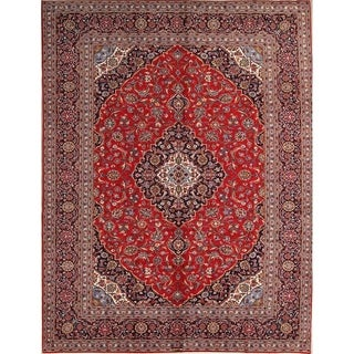 "Traditional Hand Made Kashan Medallion Wool Persian Area Rug - 12'10"" x 9'10"""