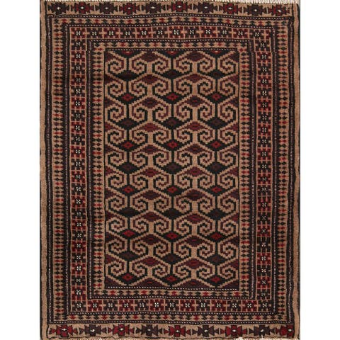 "Geometric Hand Made Traditional Balouch Persian Area Rug - 3'8"" x 2'10"""