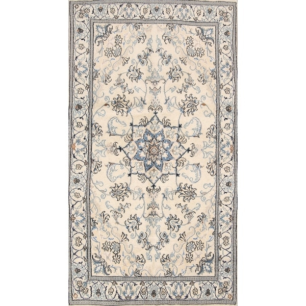 """Hand Knotted Traditional Floral Nain Persian Floral Wool Area Rug - 6'10"""" x 3'9"""""""