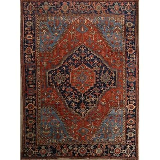 """Traditional Hand Knotted Heriz Serapi Persian Oriental Area Rug Wool - 13'0"""" x 9'6"""""""