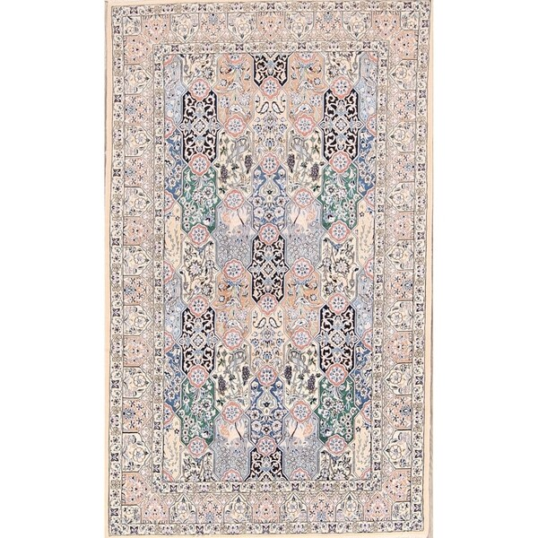 """Classical Nain Isfahan Hand Knotted Persian Traditional Area Rug - 8'2"""" x 4'11"""""""
