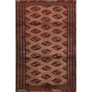 "Traditional Balouch Hand Knotted Geometric Persian Area Rug Wool - 4'4"" x 2'9"""