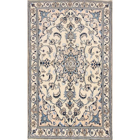 "Traditional Hand Made Wool & Silk Nain Isfahan Persian Area Rug - 6'5"" x 3'9"""