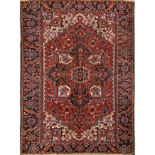 "Heriz Wool Handmade Vintage Persian Traditional Area Rug Wool - 10'10"" x 7'8"""
