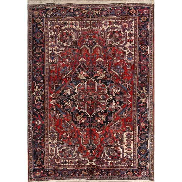 """Heriz Wool Hand Knotted Vintage Persian Traditional Area Rug Wool - 11'0"""" x 8'1"""""""