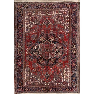 "Heriz Wool Hand Knotted Vintage Persian Traditional Area Rug Wool - 11'0"" x 8'1"""