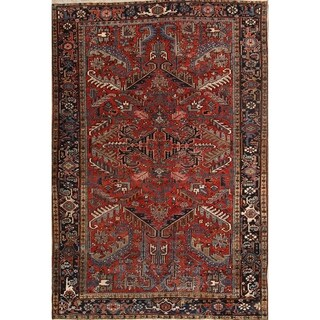 """Classical Heriz Wool Hand Knotted Persian Antique Area Rug Wool - 10'4"""" x 7'0"""""""