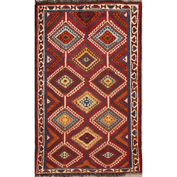 "Traditional Hand Made Qashqai Gabbeh Persian Area Rug Wool - 7'1"" x 4'5"""