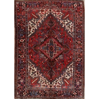 "Heriz Wool Handmade Vintage Persian Traditional Area Rug - 9'6"" x 6'6"""