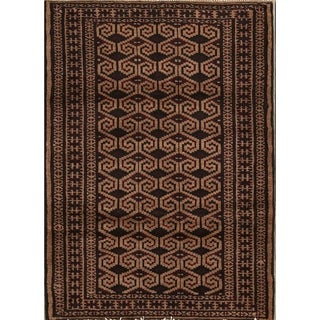 """Traditional Hand Knotted Geometric Wool Balouch Persian Area Rug - 3'9"""" x 2'8"""""""