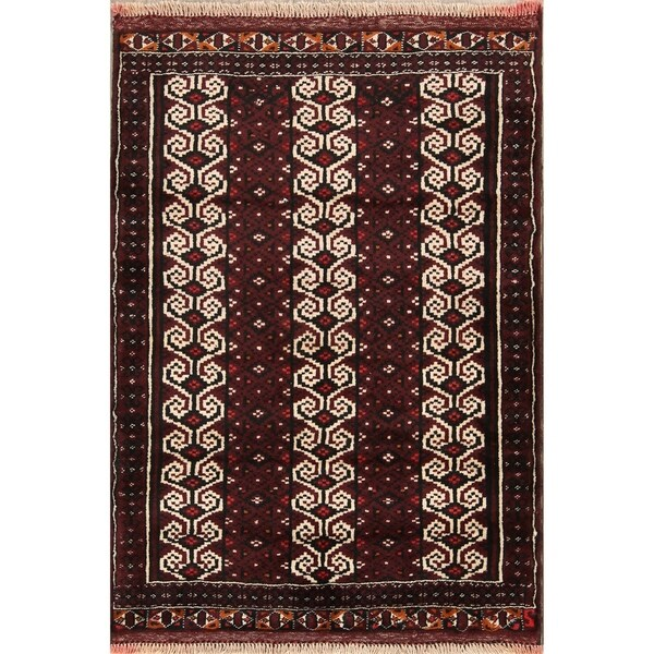 """Oriental Turkoman Balouch Bokhara Hand Knotted Persian Area Rug - 4'0"""" x 3'1"""""""