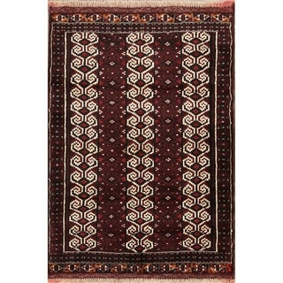 "Oriental Turkoman Balouch Bokhara Hand Knotted Persian Area Rug - 4'0"" x 3'1"""