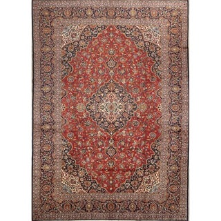 """Floral Hand Made Kashan Persian Medallion Area Rug Wool - 12'10"""" x 9'2"""""""