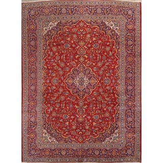 """Traditional Floral Kashan Hand Knotted Woolen Vintage Persian Area Rug - 13'1"""" x 9'7"""""""