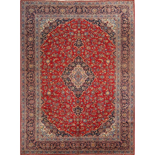 "Hand Knotted Wool Traditional Medallion Kashan Persian Area Rug - 13'1"" x 9'9"""