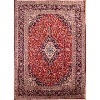 "Classical Kashan Handmade Vintage Floral Persian Area Rug Wool - 14'3"" x 9'9"""