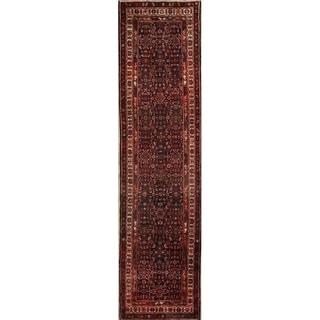 "Handmade Wool Traditional All-Over Floral Hamedan Persian Rug - 13'11"" x 3'6"" runner"